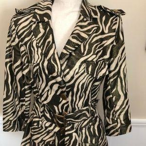 Robert Louis Size M Leopard Belted Shiny Jacket
